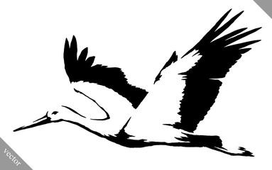 black and white paint draw crane bird vector illustration