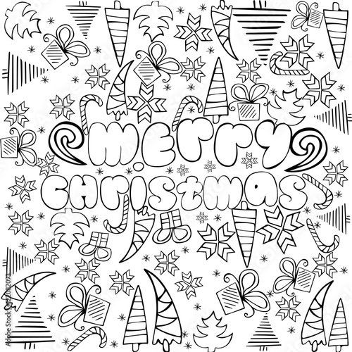 "merry christmas signs coloring pages | """"Merry Christmas"" sign with themed doodle sketchy ..."