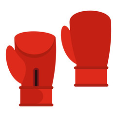 Red boxing gloves icon in flat style isolated on white background. Training symbol vector illustration