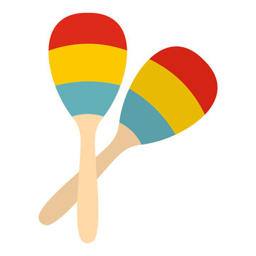 Maracas icon in flat style isolated on white background. Musical instrument symbol vector illustration
