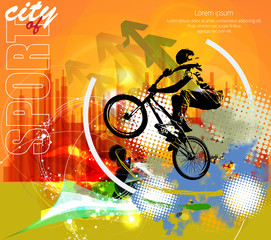 Vector silhouette cycling on abstract background