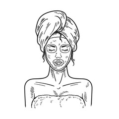 Spa Woman applying Facial clay Mask Beauty salon