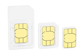 Mini, micro, nano sim cards, 3D rendering