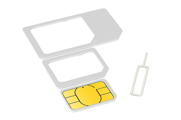 Mini, micro, nano sim cards with eject pin. 3D rendering
