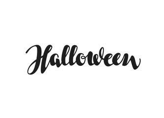 Halloween inscription calligraphy. Hand drawn lettering. Vector illustration