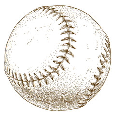 engraving  illustration of baseball ball