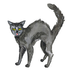 Halloween black cat Hand drawn watercolor pictures