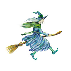 Witch on a broomstick. Watercolor image