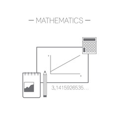 Mathematics icon. Flat design minimalistic vector illustration