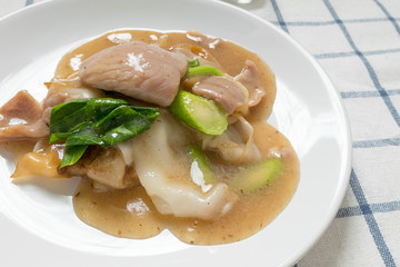 Rad Na, Famous Thai Chinese style wide rice noodle dish with tasty tender pork with thick gravy sauce. close up