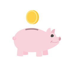 piggy bank icon. money box with coin. fat piggy bank with coin vector illustration