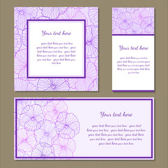 Set of different cards with a pattern of pansies.