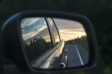 Car mirror, Avalon Peninsula, Newfoundland, Canada