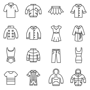 outerwear icons set. clothing collection symbols. thin line design