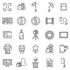 photo icons collection. photo studio, isolated symbols collection