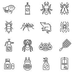 pest control icons set. extermination pests collection.insects and rodents vector illustration. thin line design