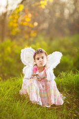 Little girl in a fluffy dress with fairy wings in a park garden