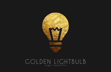 Lightbulb logo template. Lightbulb icon. Golden lightbulb logo. Creative logo template