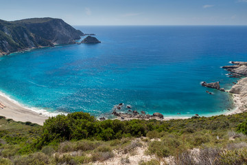 Panoramic view of Petani Beach, Kefalonia, Ionian Islands, Greece