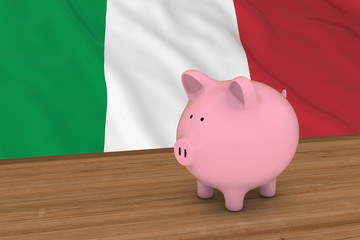 Italy Finance Concept - Piggybank in front of Italian Flag 3D Illustration