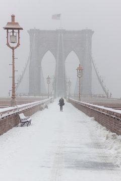 Walking the Brooklyn Bridge in Winter