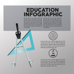Compass and ruler icon. Education and learning infographic theme. Grey background. Vector illustration