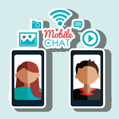 avatar smartphone chat mobile vector illustration eps 10
