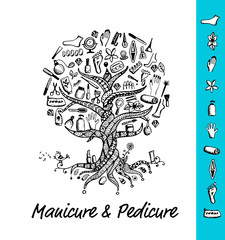 Manicure and pedicure. Tree concept, sketch for your design