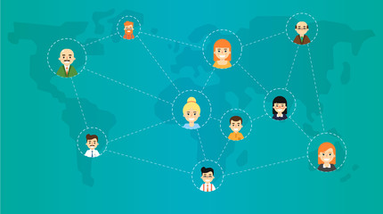 Social media network banner with connected round people icons on blue background with world map, vector illustration. Connecting people. Teamwork concept. Collaboration and partnership