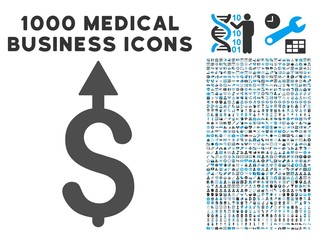 Business Growth icon with 1000 medical business gray and blue vector pictographs. Design style is flat bicolor symbols, white background.
