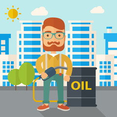 Businessman with oil can and pump.