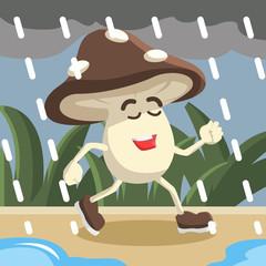 mushroom man walking enjoy in rain