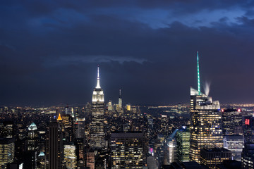 Downtown Manhattan Skyline at Night with the Empire State Building, New York City