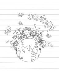 ecology green world concept. hand drawing a girl hug the world