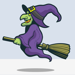 Cute witch riding broomstic cartoon