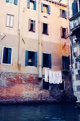 Colorful old buildings in beautiful Venice, Italy. European vacation, popular travel and honeymoon destination