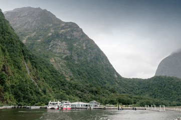 Scenic area at Milford Sound passenger terminal pier