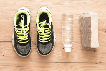 Fitness supplies on brown wood