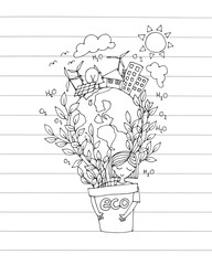 ecology green world concept. hand drawing the girl hug a pot of