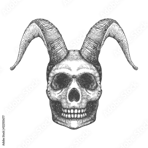 Skull with horns  Human skull with goat horns  Demon Head  A demon