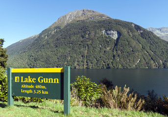 Lake Gunn in the Fiordland National Park. South Island of New Zealand