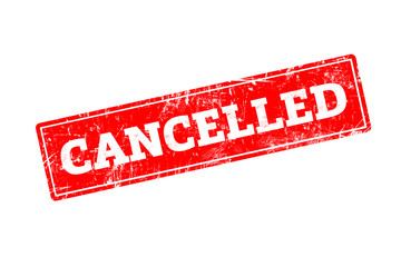 CANCELLED word written on red rubber stamp with grunge edges.