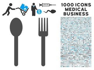 Fork and Spoon icon with 1000 medical business gray and blue vector pictograms. Set style is flat bicolor symbols, white background.