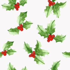 Seamless leaf Christmas Holly pattern, for gift wrap or wallpaper backgrounds.