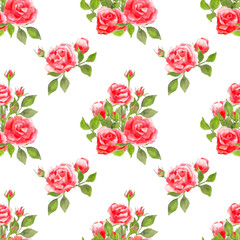 Seamless rose flowers pattern, rose floral watercolor painting