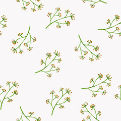 Seamless flowers pattern, floral watercolor painting on isolate