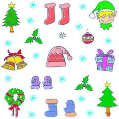 Doodle winter christmas vector art