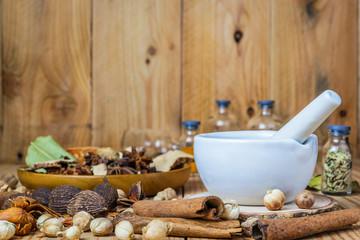 Mortar grinder and herb medicine