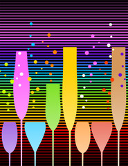 Cocktail party or Happy new year greeting card with colorful glass and rainbow background