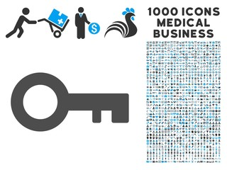 Key icon with 1000 medical business gray and blue vector design elements. Collection style is flat bicolor symbols, white background.